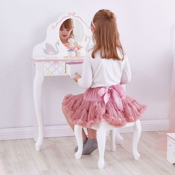Child's Swan Lake White and Pink Vanity and Stool Set