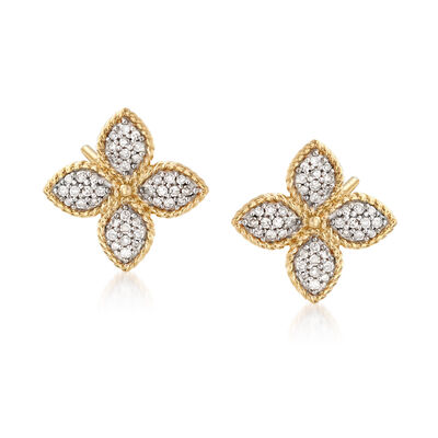 .25 ct. t.w. Pave Diamond Flower Earrings in 14kt Yellow Gold With Rhodium, , default
