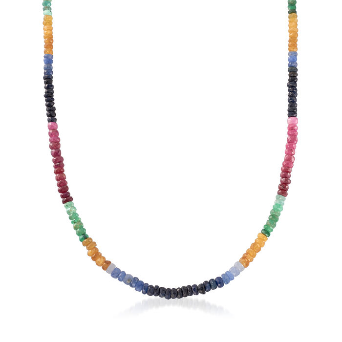 Multi-Gem Rondelle Bead Necklace with Sterling Silver, , default