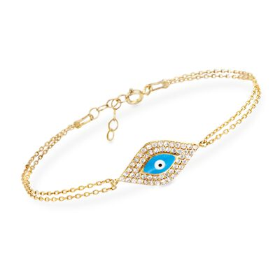 .50 ct. t.w. CZ and Enamel Bracelet in 14kt Gold Over Sterling, , default