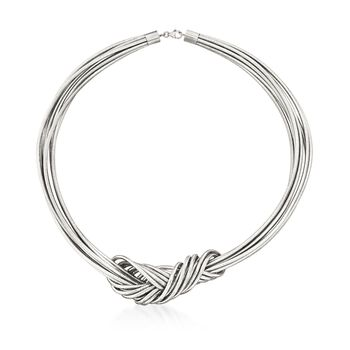 Italian Flex Knot Necklace With Sterling Silver, , default
