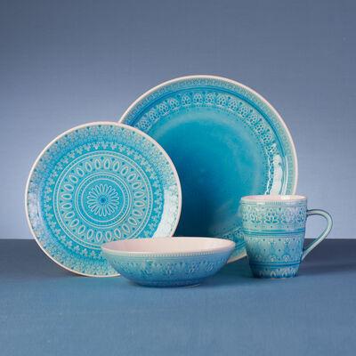 Fez Turquoise Stoneware 16-pc. Service for 4 Dinnerware Set, , default