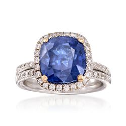 C. 1990 Vintage 4.66 Carat Sapphire and .50 ct. t.w. Diamond Ring in 18kt White Gold. Size 5.5, , default