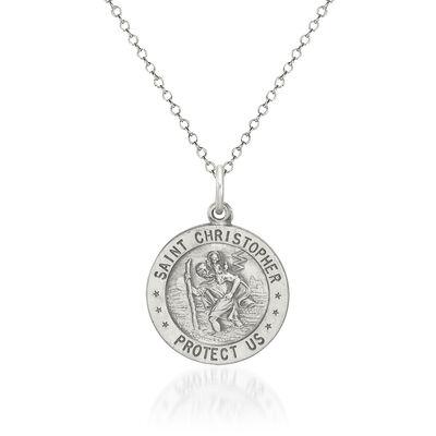 """Sterling Silver Antiqued St. Christopher Baseball Medal Necklace. 18"""", , default"""