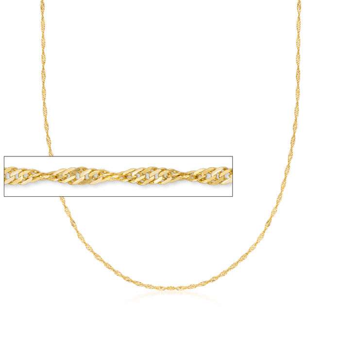 Italian 1.5mm 18kt Yellow Gold Diamond-Cut Singapore Chain Necklace