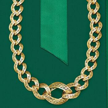 Italian 14kt Yellow Gold Graduated Tartan Link Necklace