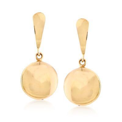 Italian 14kt Yellow Gold Puffed Circle Drop Earrings, , default