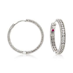 "Roberto Coin ""Symphony Princess"" .45 ct. t.w. Diamond Hoop Earrings in 18kt White Gold. 7/8"", , default"