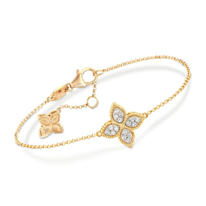 "Roberto Coin ""Princess"" .17 ct. t.w. Diamond Flower Bracelet in 18kt Yellow Gold. 7"", , default"