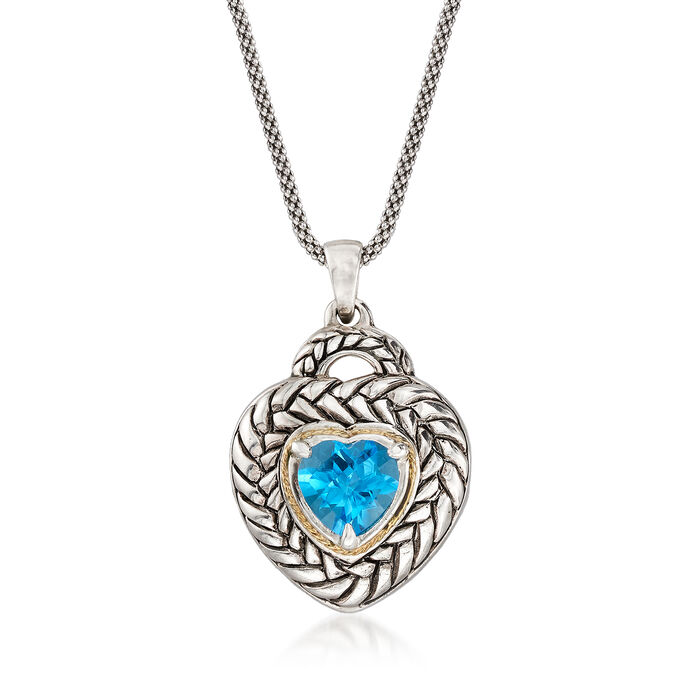 2.20 Carat Swiss Blue Topaz Heart Pendant Necklace in Sterling Silver and 14kt Gold