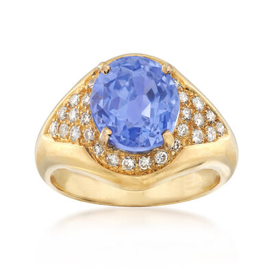 C. 2000 Vintage 4.55 Carat Oval Sapphire and .40 ct. t.w. Diamond Ring in 18kt Yellow Gold