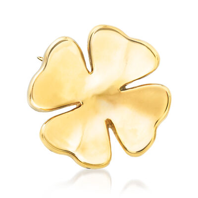 Italian 18kt Yellow Gold Four-Leaf Clover Pin, , default
