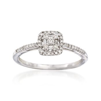 .20 ct. t.w. Baguette and Round Diamond Cluster Ring in 14kt White Gold, , default