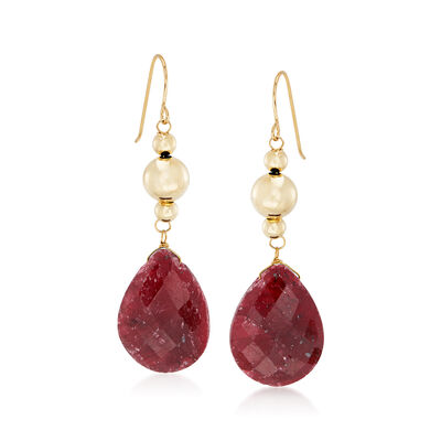 20.00 ct. t.w. Ruby Drop Earrings in 14kt Yellow Gold, , default