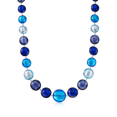 Italian Blue Murano Bead Necklace in Sterling Silver