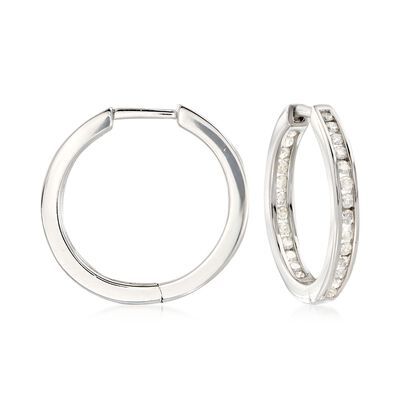 .50 ct. t.w. Channel-Set Diamond Inside-Outside Hoop Earrings in Sterling Silver, , default