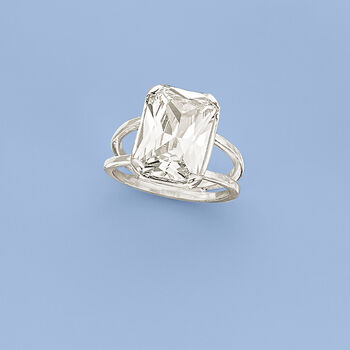8.00 Carat Radiant-Cut CZ Ring in Sterling Silver, , default