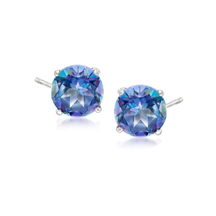 3.00 ct. t.w. Blue Topaz Post Earrings in 14kt White Gold, , default