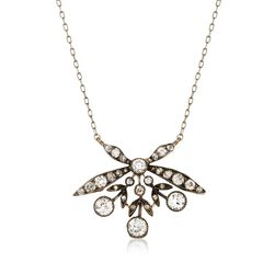 "C. 1940 Vintage 1.85 ct. t.w. Diamond Floral Necklace in Sterling Silver and 14kt Gold. 18"", , default"
