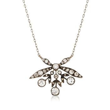 """C. 1940 Vintage 1.85 ct. t.w. Diamond Floral Necklace in Sterling Silver and 14kt Gold. 18"""", , default"""
