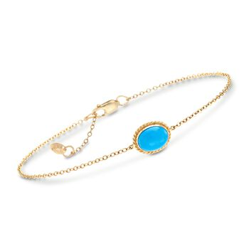 """Oval Sleeping Beauty Turquoise Roped Frame Bracelet in 14kt Yellow Gold. 7"""", , default"""