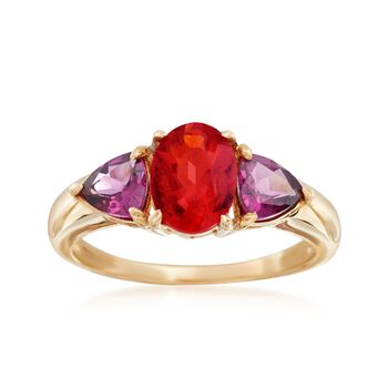Fire Opal and 1.20 ct. t.w. Purple Rhodolite Ring in 14kt Yellow Gold , , default