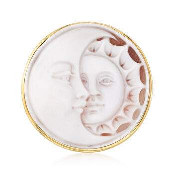 Italian Sun and Moon Shell Cameo Pin/Pendant in 14kt Yellow Gold, , default