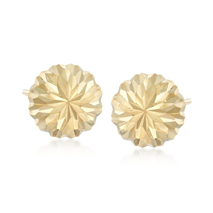 14kt Yellow Gold Diamond-Cut Dome Earrings, , default