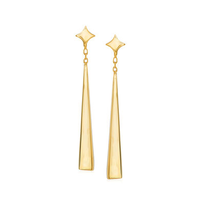 Italian 14kt Yellow Gold Triangle Drop Earrings, , default