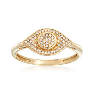 .10 ct. t.w. Diamond Evil Eye Ring in 14kt Yellow Gold, , default