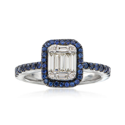 .40 ct. t.w. Sapphire and .30 ct. t.w. Diamond Ring in 18kt White Gold, , default