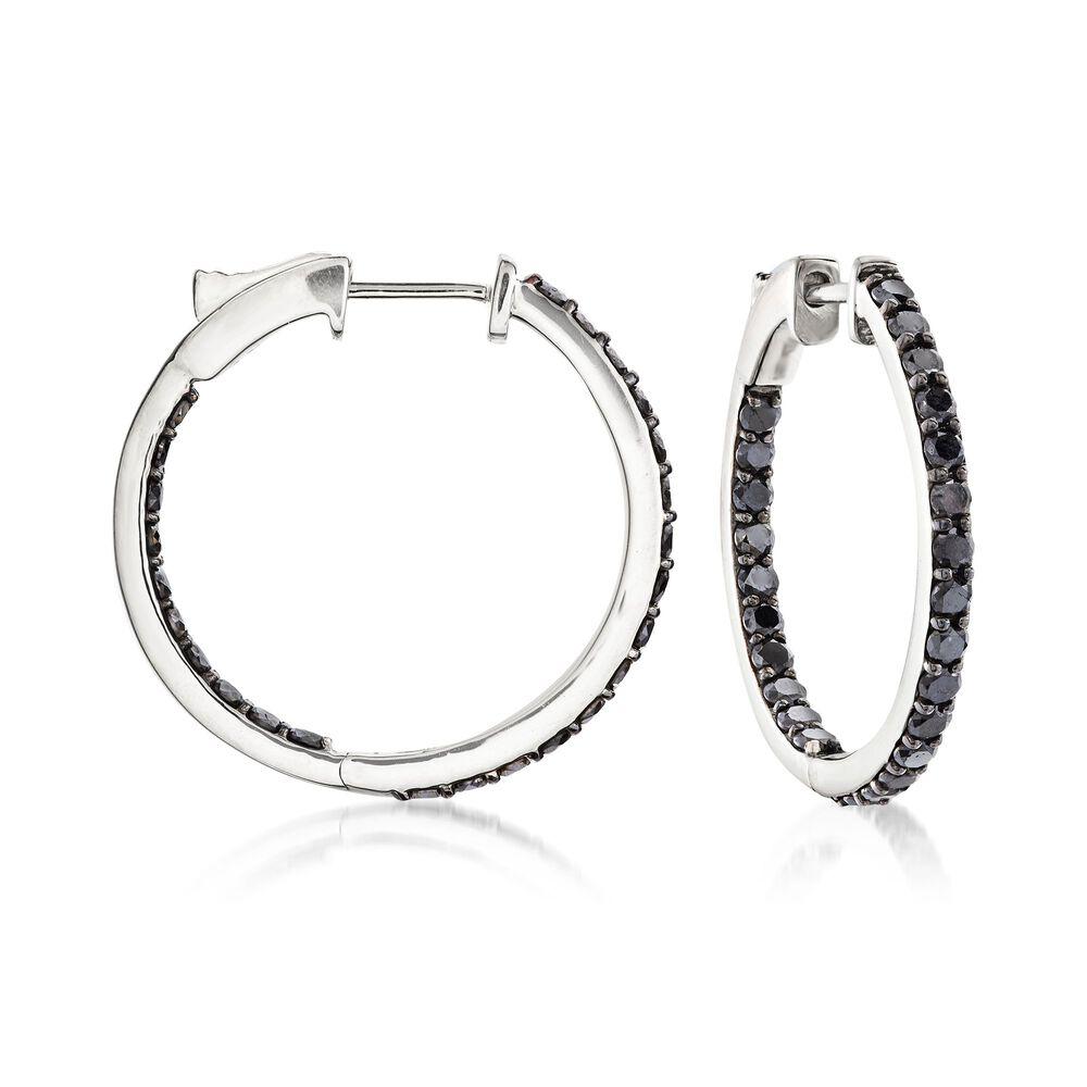 T W Black Diamond Inside Outside Hoop Earrings In 14kt White Gold