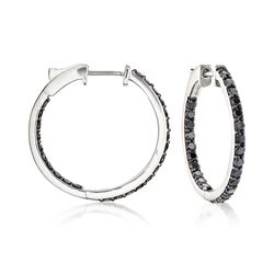 "2.00 ct. t.w. Black Diamond Inside-Outside Hoop Earrings in 14kt White Gold. 7/8"", , default"