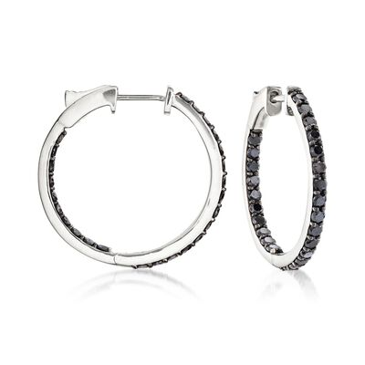 2.00 ct. t.w. Black Diamond Inside-Outside Hoop Earrings in 14kt White Gold, , default