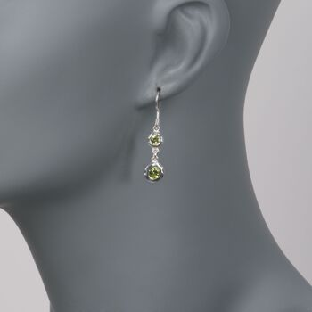 "Zina Sterling Silver ""Ripples"" 1.50 ct. t.w. Peridot Drop Earrings, , default"