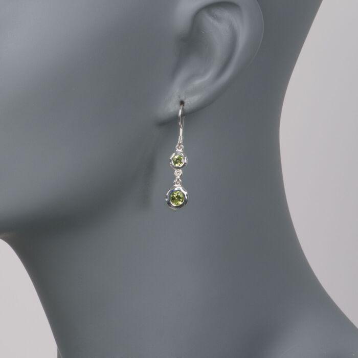"""Zina Sterling Silver """"Ripples"""" 1.50 ct. t.w. Peridot Drop Earrings"""