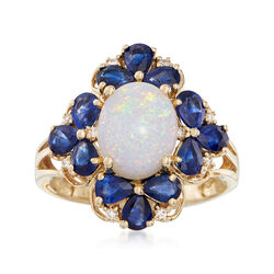 Opal and 2.30 ct. t.w. Sapphire Ring With Diamond Accents in 14kt Yellow Gold, , default