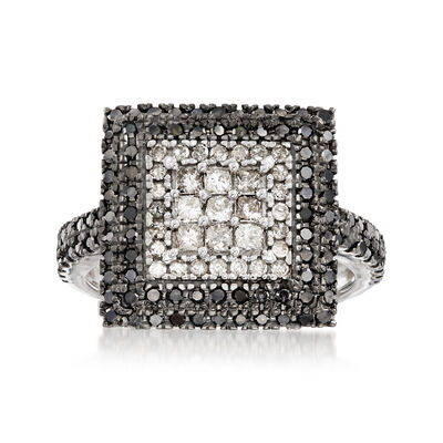 .99 ct. t.w. Black and White Pave Diamond Square Ring in 14kt White Gold, , default