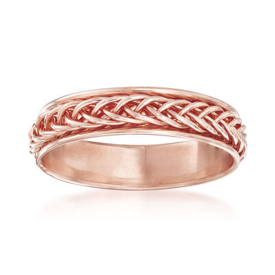 14kt Rose Gold Small Braided Band Ring, , default