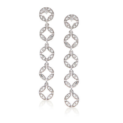 .41 ct. t.w. Diamond Linear Drop Earrings in Sterling Silver