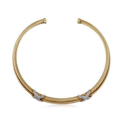 C. 1980 Vintage David Yurman 1.50 ct. t.w. Diamond X Collar Necklace in 14kt Two-Tone Gold, , default