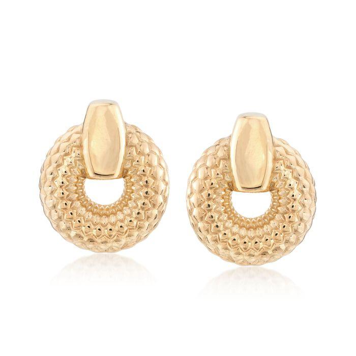 Italian 18kt Gold Over Sterling Silver Patterned Doorknocker Earrings, , default