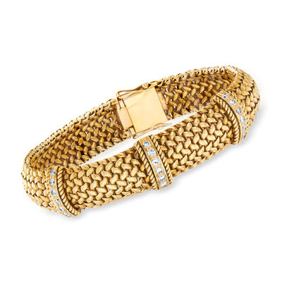 C. 1980 Vintage .75 ct. t.w. Diamond Section Mesh Bracelet in 18kt Yellow Gold, , default
