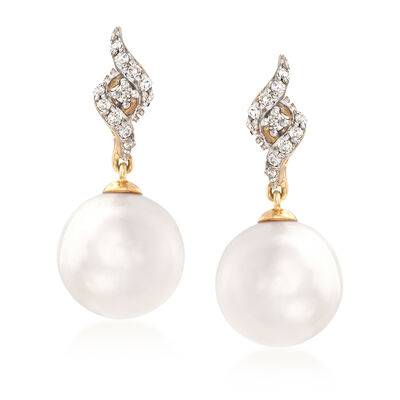8-8.5mm Cultured Pearl Drop Earrings with Diamond Accents in 14kt Yellow Gold, , default