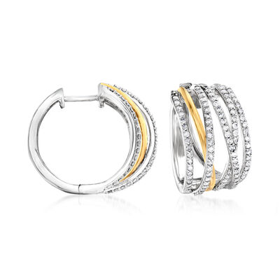 1.00 ct. t.w. Diamond Highway Hoop Earrings in Sterling Silver and 14kt Yellow Gold