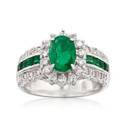 C. 1980 Vintage 1.61 ct. t.w. Emerald and .50 ct. t.w. Diamond Ring in Platinum, , default