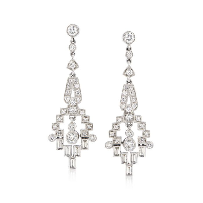C. 1990 Vintage 1.75 ct. t.w. Diamond Deco-Style Drop Earrings in Platinum