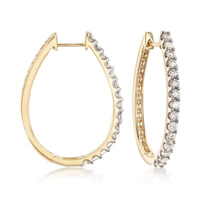2.00 ct. t.w. Diamond Oval Hoop Earrings in 14kt Yellow Gold