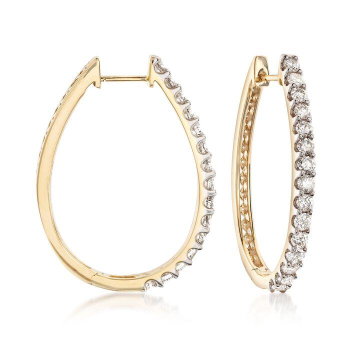 """2.00 ct. t.w. Diamond Oval Hoop Earrings in 14kt Yellow Gold. 1 1/4"""", , default"""