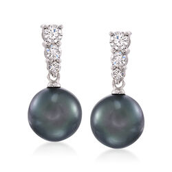 Mikimoto 9mm Black South Sea Pearl Earrings With Diamonds in 18kt White Gold, , default